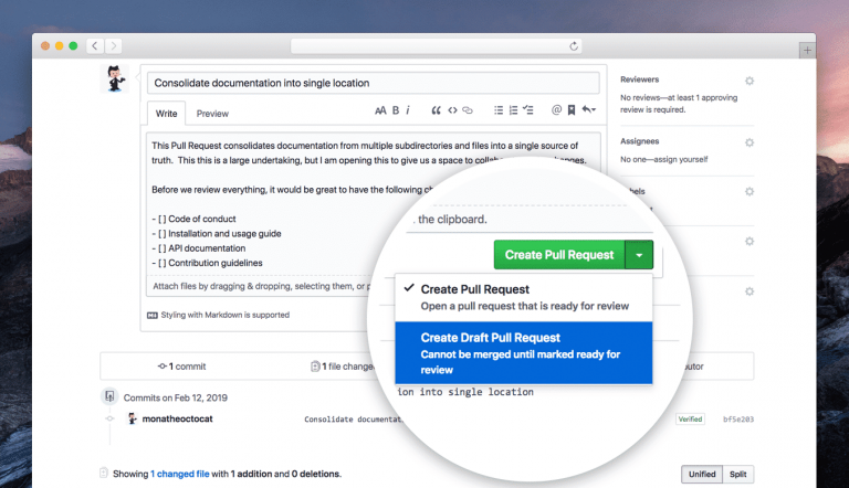 GitHub adds 'draft' pull requests feature